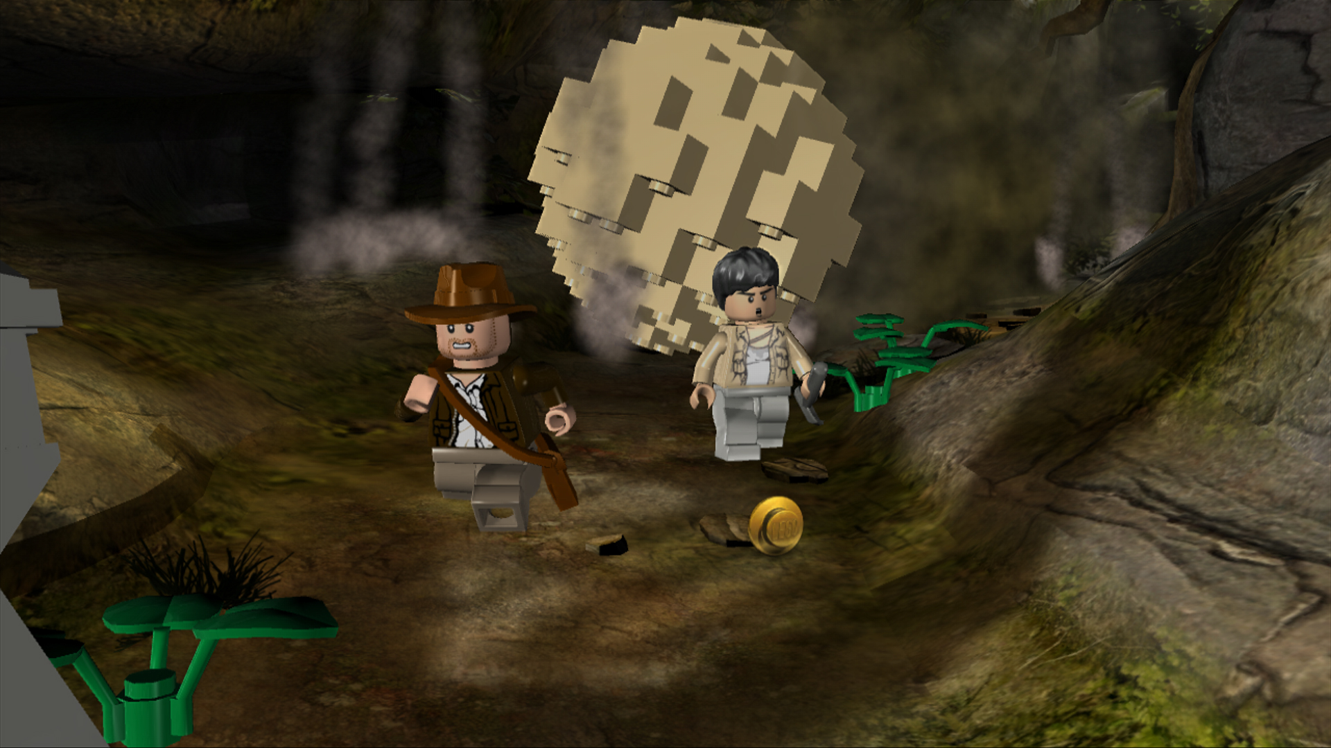 Indiana Jones running from a large rolling boulder.
